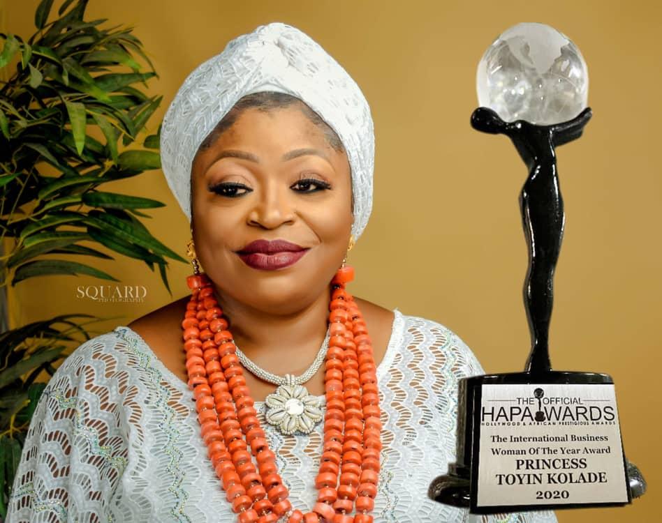HAPAwards: Princess Toyin Kolade Gets International Recognition-Crystal News